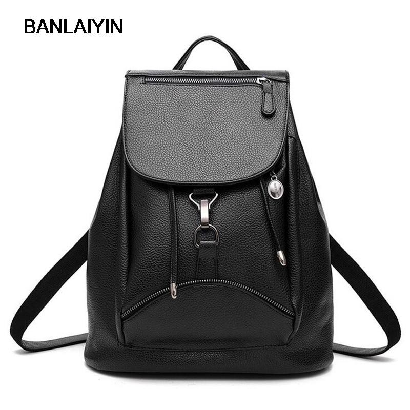 Nice Fashion Women Backpack Leather Black Shoulder Bag Big School Bags For Teenagers Girls Travel Bag