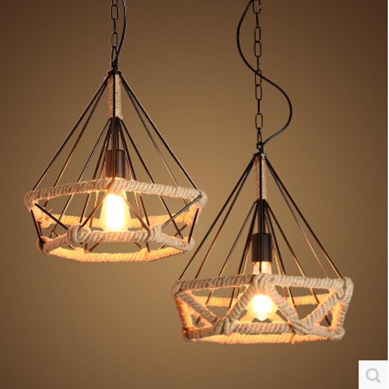 Industrial Hemp Vintage Wrought Iron Pendant Light Loft Bar Restaurant Bird Cage Diamond Pendant Light