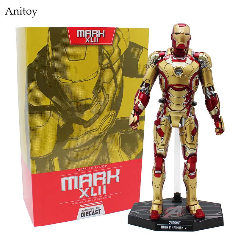 Super Hero HC Iron Man MK42 Mark XLII with LED Light 1/6th Scale Action Collectible Figure Model Toy 31cm KT4199