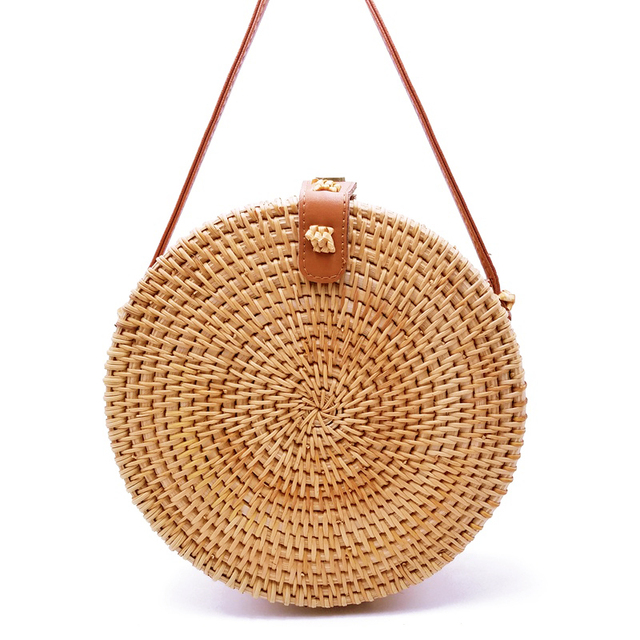 1c2962ba2d54 Vietnam Hand Woven Bag Round Rattan Straw Bags Bohemia Style Beach Circle  Bag 2019 Popular LB965