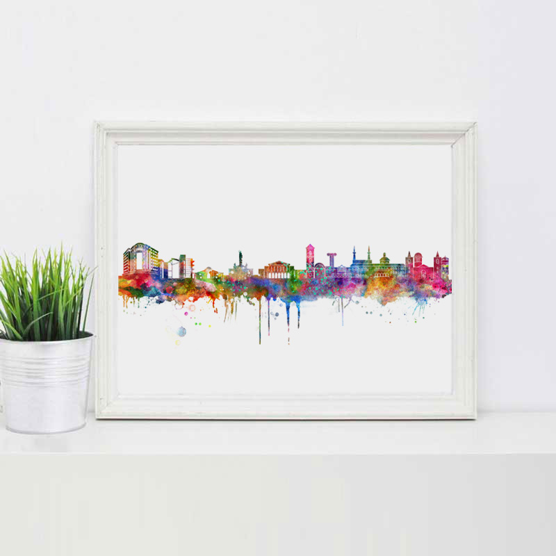 US $3 99 20% OFF|Cyprus Skyline Map Wall Art Nicosia City Wall Art  Watercolor Painting Art Print Office Wall Hanging Nicosia Map Poster  Cyprus-in