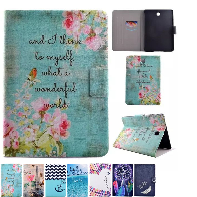 Cute Cartoon Colorful Butterfly Tower Stand Flip Leather Funda Case For Samsung Galaxy Tab S2 8.0 T710 SM-T715 T715 Tablet Cover