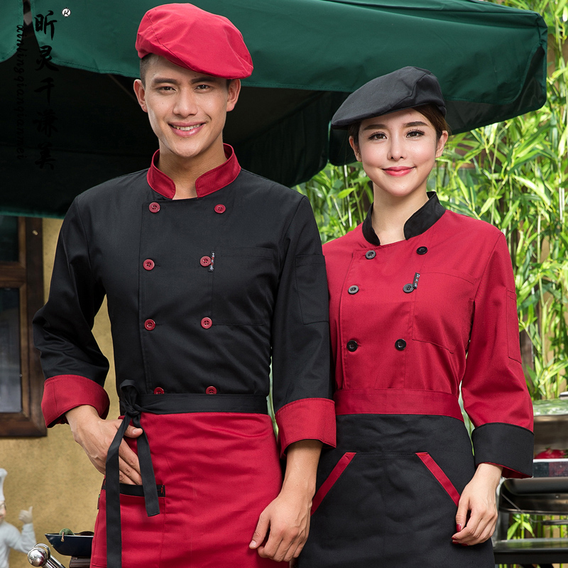 Hotel Chef Wear Long Sleeved Autumn Winter Service Overalls Restaurant Cafe Work Clothes Chinese J043