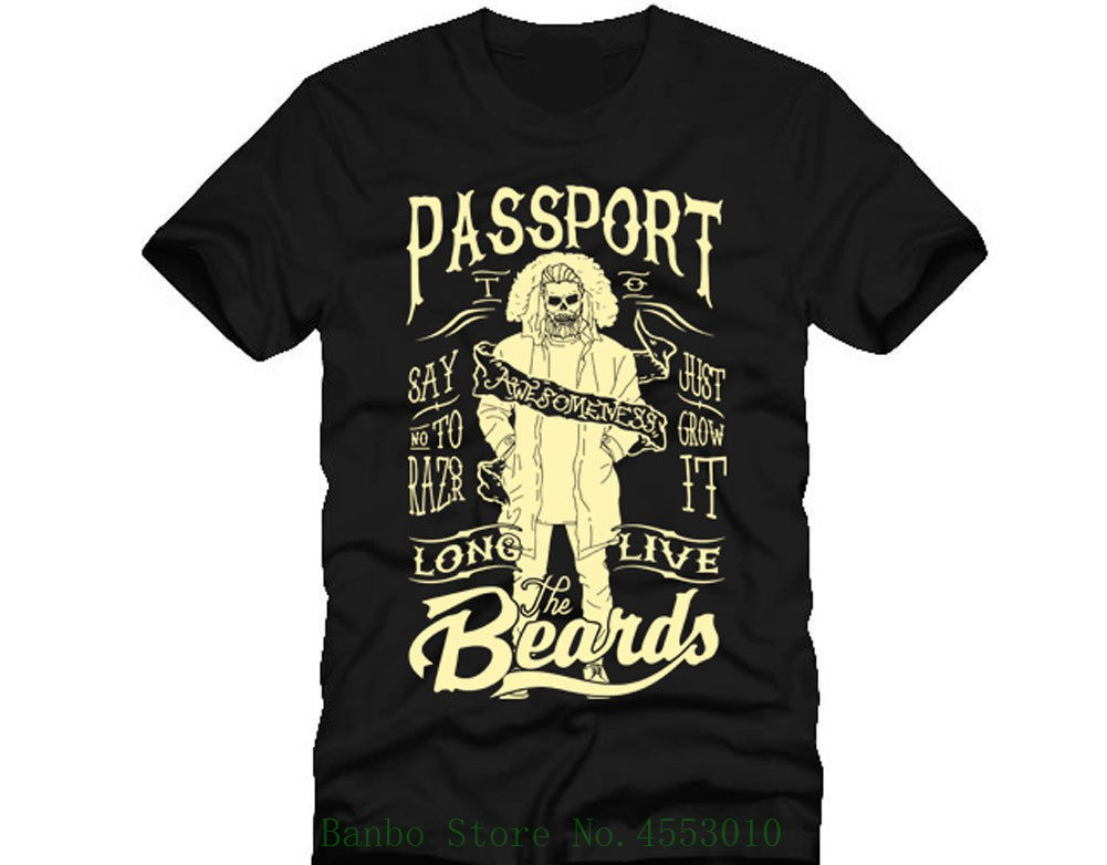 Passport To Awesome Barber Beards <font><b>Shave</b></font> Shaver Knife Dtg Mens T <font><b>Shirt</b></font> Tees Print T-<font><b>shirt</b></font> Men Summer image