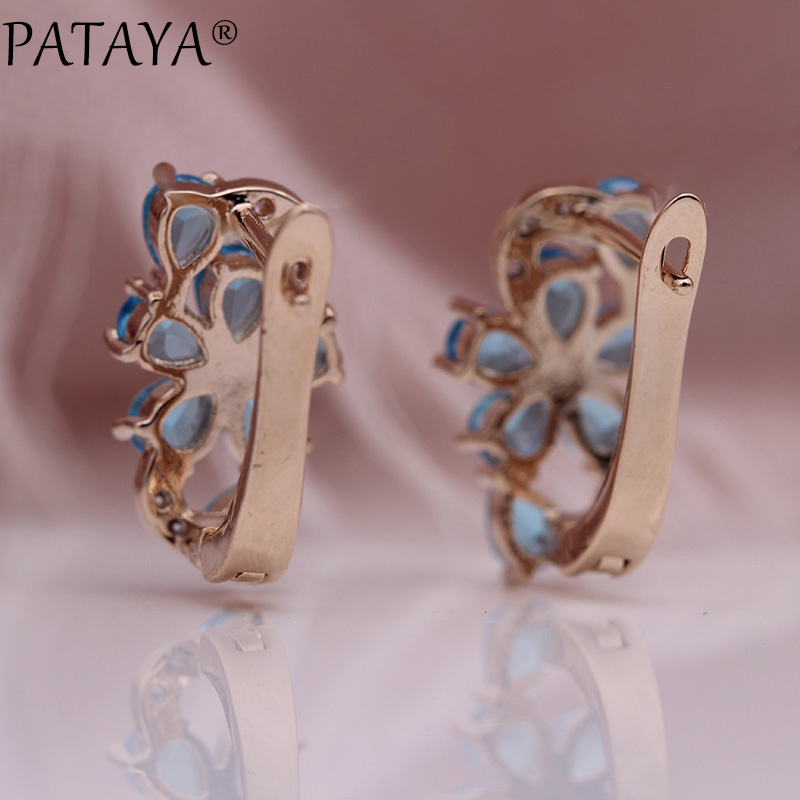 HTB1jQcBKb9YBuNjy0Fgq6AxcXXag - PATAYA New Water Drop Plum Blossom Dangle Earrings Women Fashion Trendy Jewelry 585 Rose Gold Petal Natural Zircon Blue Earrings