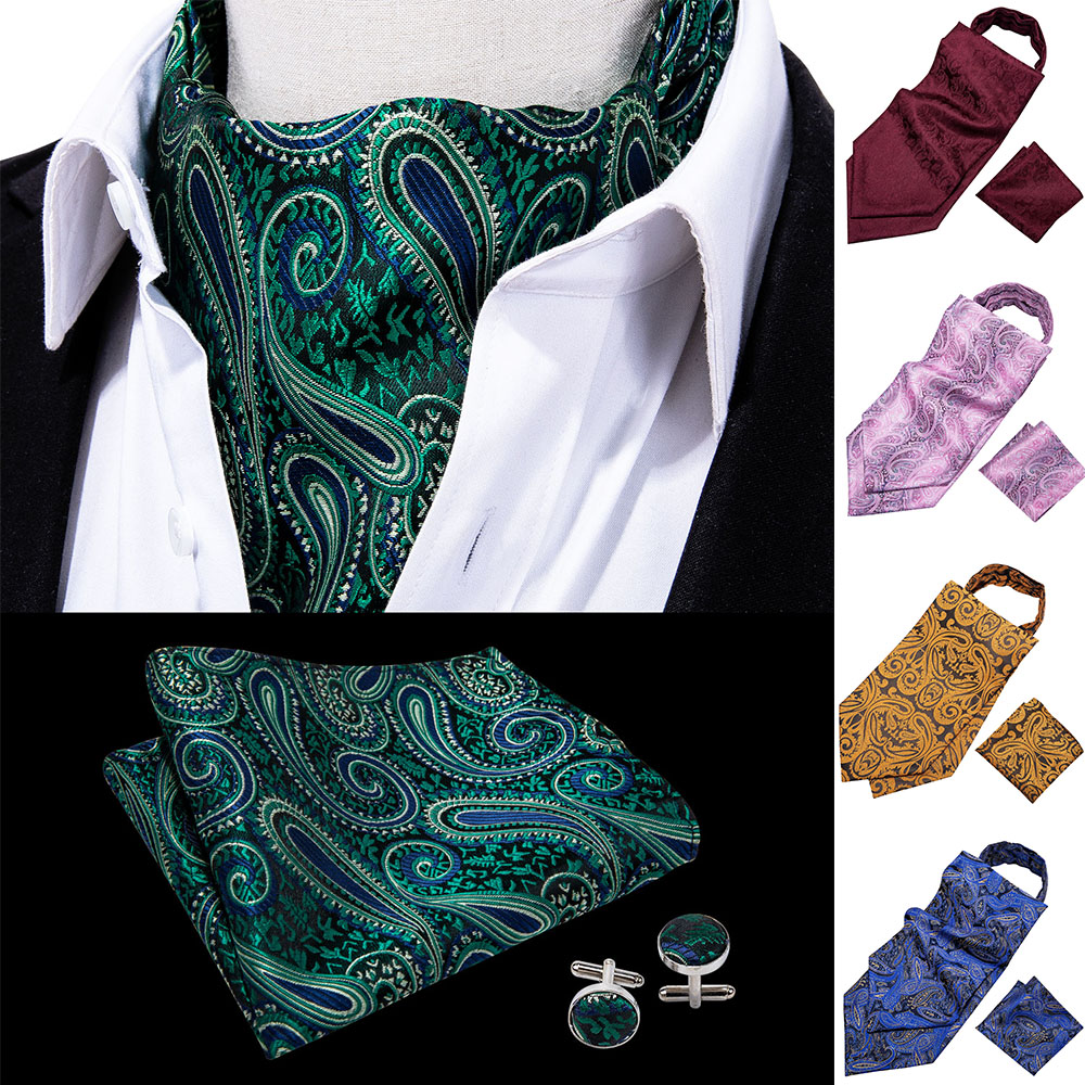 Barry.Wang Fashion Brand 8Styles Gold Men Cravat Ascot Handkerchief Cufflinks 100%Silk Paisley Ties Gift Box Set Wedding LJ-0001