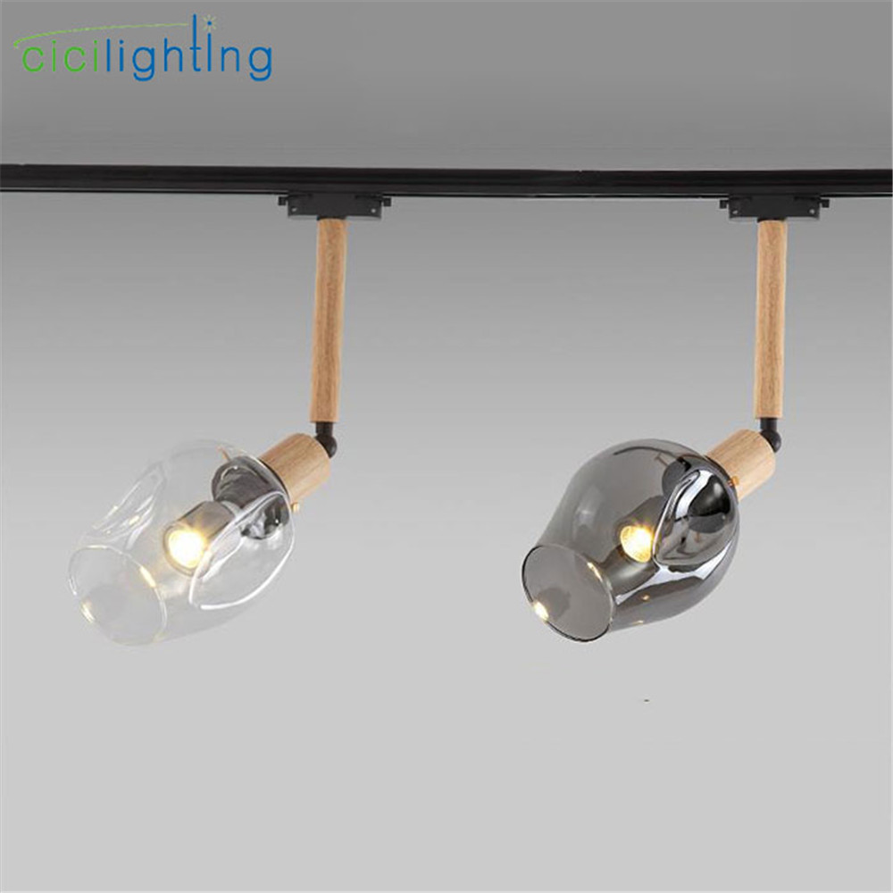 Modern Clothing store art decor led track lights magic bean glass shades decoration led track spotlights E27 bulb rail lighting led cob track lights clothing store