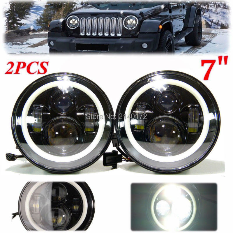 7inch Round Headlight with Angel eyes 40W High/Low Beam Car LED Headlight for Wrangler 7'' LED Headlamp 7 inch round led headlight 12v eyes lights led high low headlight 7 inch
