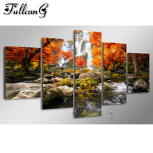 FULLCANG 5pcs diy diamond painting autumn forest full square/round drill 5d embroidery scenery waterfall multi-pictures FC1041