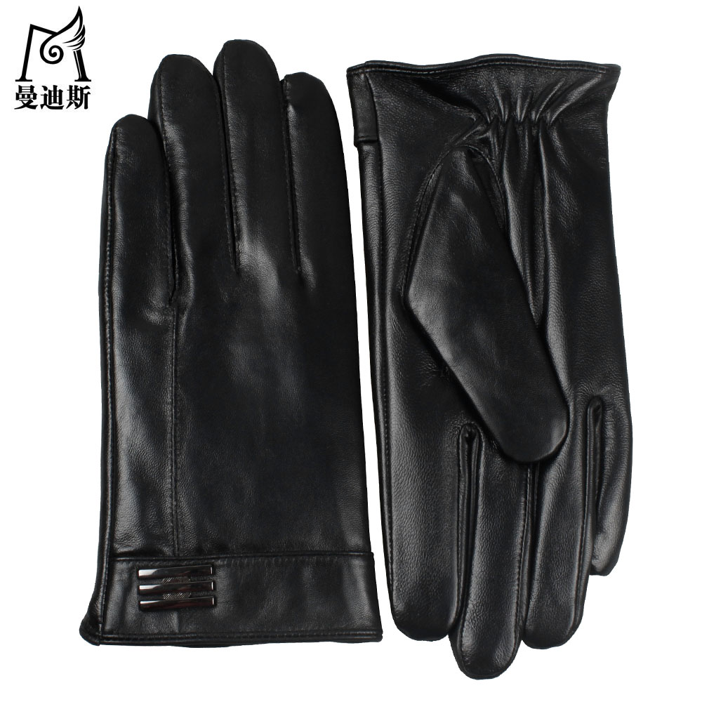Black leather gloves with red buttons - Men S Leather Gloves Men S Winter Thickening Warm Leather Gloves Simple Business Touch Screen Men S Leather Gloves