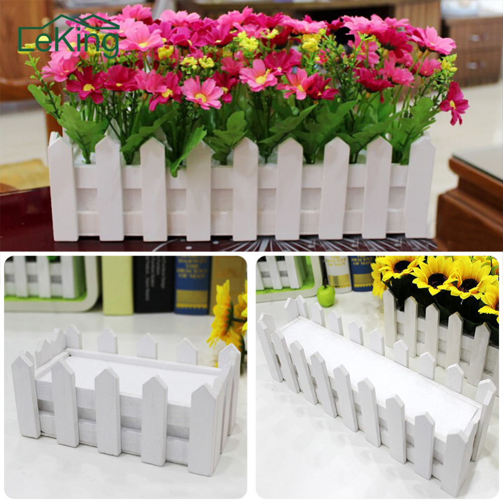 White Wood Fence Pastoral Flowerpot Vertical Garden Pots Planters Supplies For Artificial Flower Home Garden Wedding Decoration цена
