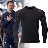 Avengers 3 Iron Man Tony Stark Cosplay Costume 3D Printed Long Sleeve T shirt Tight Compression Shirt