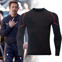 Avengers 3 Iron Man Tony Stark Cosplay Costume 3D Printed Long Sleeve T shirt Tight Compression Shirt