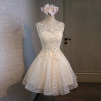 Short Lace Appliques Cocktail Graduation Homecoming Dresses Elegant Blue Party Formal Dress 2019