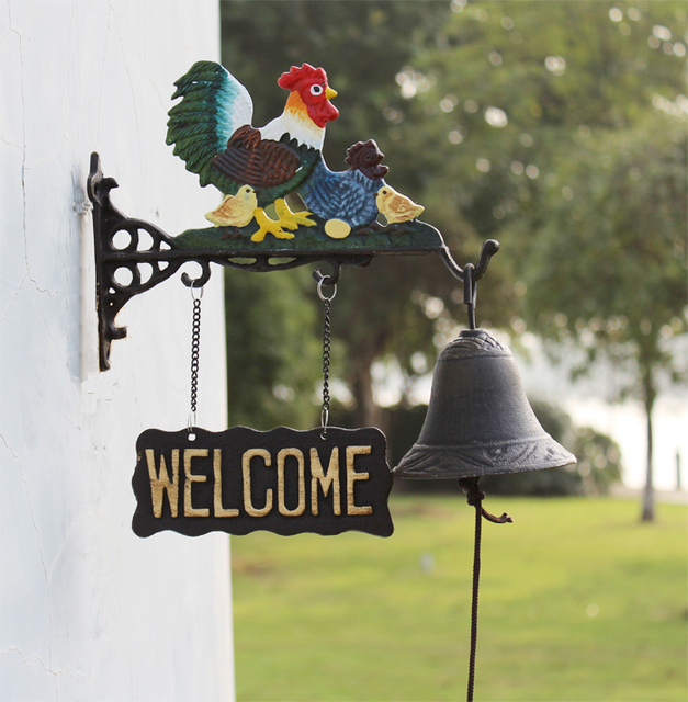 Cast Iron Rooster Outdoor Dinner Bell Farm Ranch Country Chicken Family  Welcome Bell Metal Hand Painted Decor Free Shipping-in Wind Chimes &  Hanging