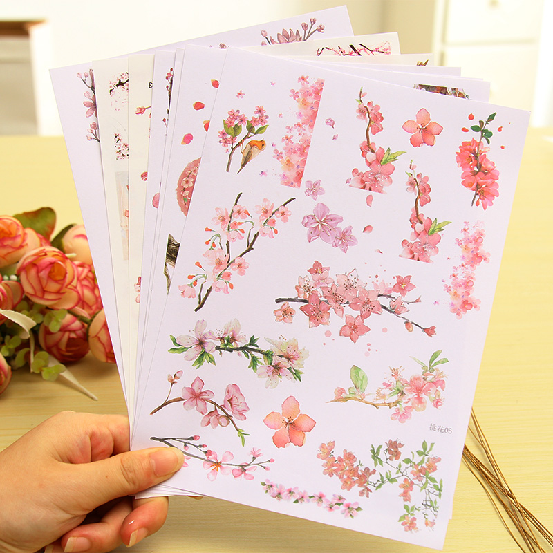 A5 Beautiful Peach Blooming Paper Sticker DIY Diary Decoration Sticker For Planner Album Scrapbooking Kawaii Stationery