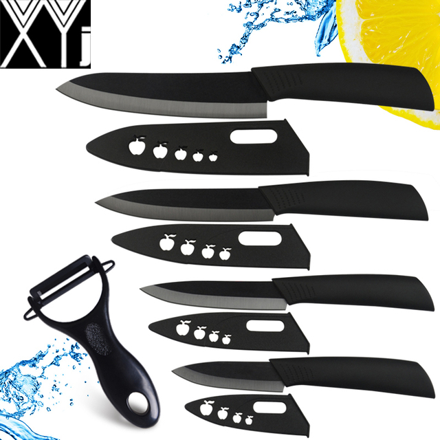 XYJ ceramic knife set 3, 4, 5, 6 inch knife colorful ABS handle kitchen knives with zirconia sheath cooking knives + peleer