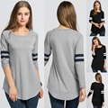 New Fashion Women Casual Long Sleeve Base Ball O-Neck Long T-Shirt