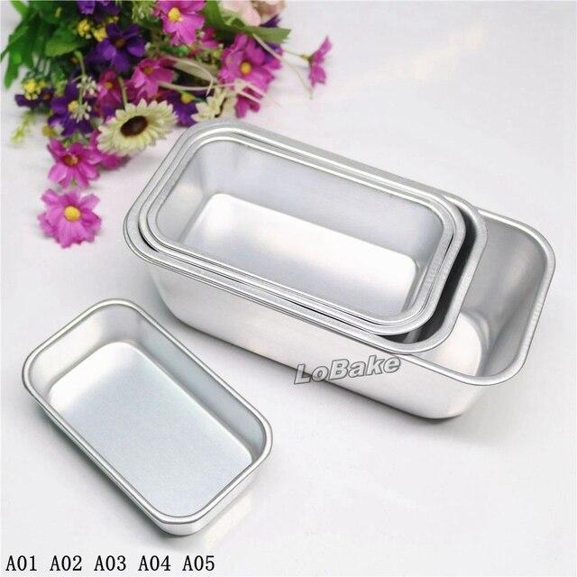 US $14 42 13% OFF|(5pcs/set) New 5 sizes plain surface rectangle shape  aluminium egg tarts tarte pudding jelly mousse bread cake toast bake  mould-in