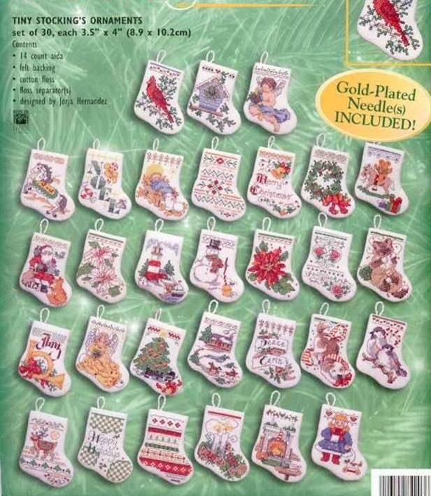 14/16/18/28 Counted Cross Stitch Kit Tiny Stocking Ornament Christmas Ornaments, 30 Pcs Stockings Bucilla 84293