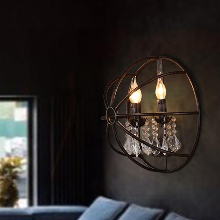 led 14 Loft Iron Candle Crystal LED Lamp LED Light Wall lamp Wall Light Wall Sconce For Bar Store Foyer Bedroom Corridor цена 2017