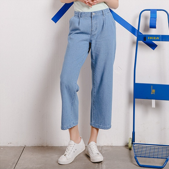2017 Women Spring Ankle-Length Wide Leg Pants Casual Straight Denim Jeans Pant Female Harujuku Fashion Loose Women Clothing 2017 spring new women sweet floral embroidery pastoralism denim jeans pockets ankle length pants ladies casual trouse top118