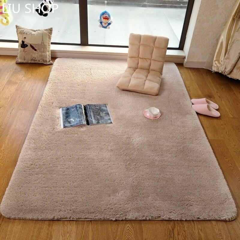 Liu Японский Толстая овечья плюшевые ковер спальни кровать диван yaogo площадку Современная Гостиная журнальный столик татами мягкий коврик И...