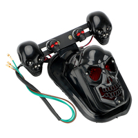 Universal Black Motorcycle Skull Turn Signal Rear Brake Tail Stop Light For Harley Bobber Honda Yamaha