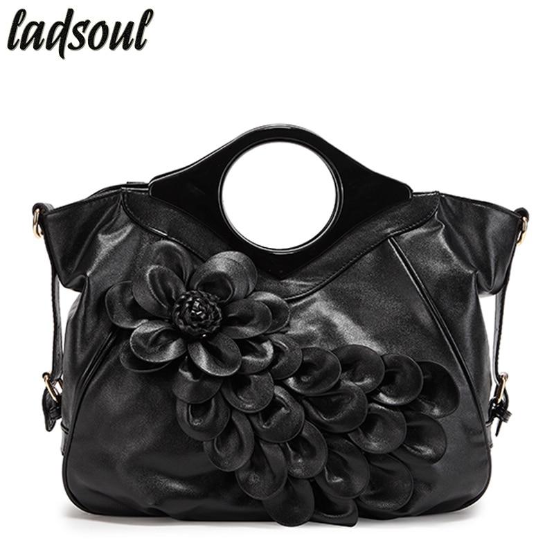 LADSOUL Floral Women Leather Handbags High Quality Women Shoulder Bags Ladies Luxury Women Bags Big Elegant Female Tote A736/g