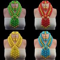 2019 Bridal Gift Nigerian Wedding African Beads Jewelry Set Brand Woman Fashion Dubai Gold Jewelry Set Wholesale Design