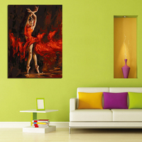 Free Shipping Modern Figure Wall Art Dancing Girl with Red Skirt Canvas Oil Painting On Canvas Wall Art Decor Art Picture