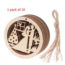 10 Pcs/Set Round Wedding Pendant Laser Cutting DIY Wooden Plaque Scrapbooking Handicraft Decor Confetti Slices Rustic Embellishm