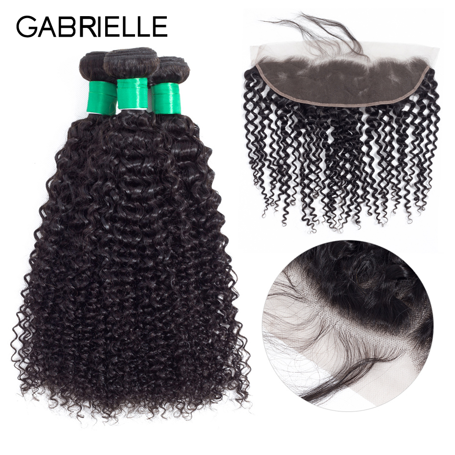 Gabrielle Indian Kinky Curly 3 Bundles With Frontal 100% Human Hair Bundles with 13x4 Lace Frontal Closure Non Remy Hair #1b