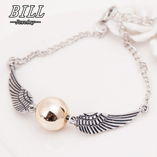 SL194 Snitch Pocket Bracelet Wings Vintage Retro Tone For Men and Women Feather