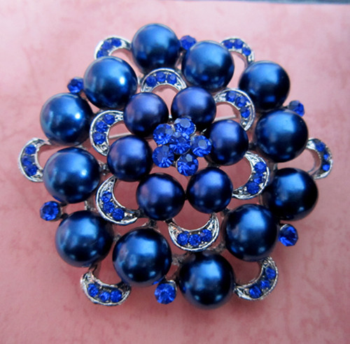 Серебряный тон искусственный жемчуг и горный хрусталь с бриллиантами, кристалами для свадьбы брошь с букетом - Окраска металла: Silver Royal
