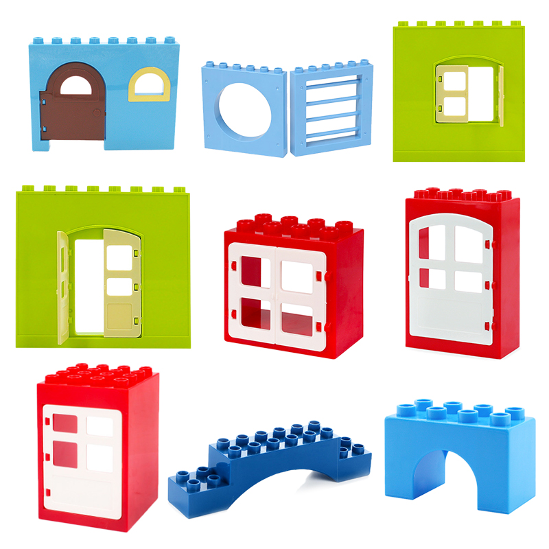 Big Building Blocks Accessory City House Architecture Wall Door Window Bridge Brick Compatible With Duplo Toys For Children Gift