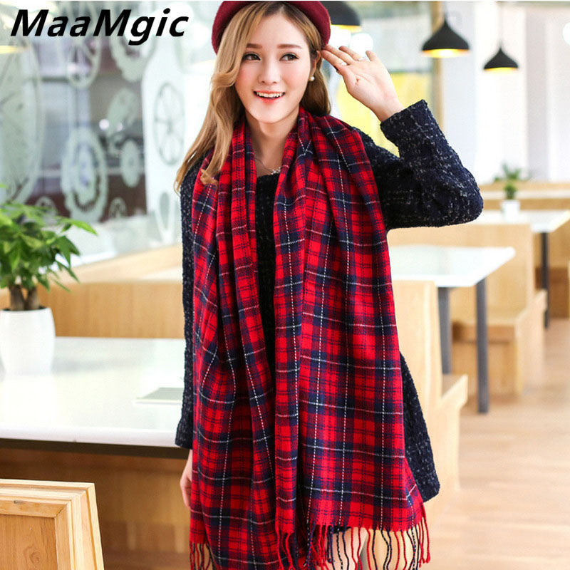 2017New Fashion Winter Warm Scarf Women Scarf Luxury Plaid Cashmere Scarves Girl scarves poncho shawls wholesale Size 190CM*60CM