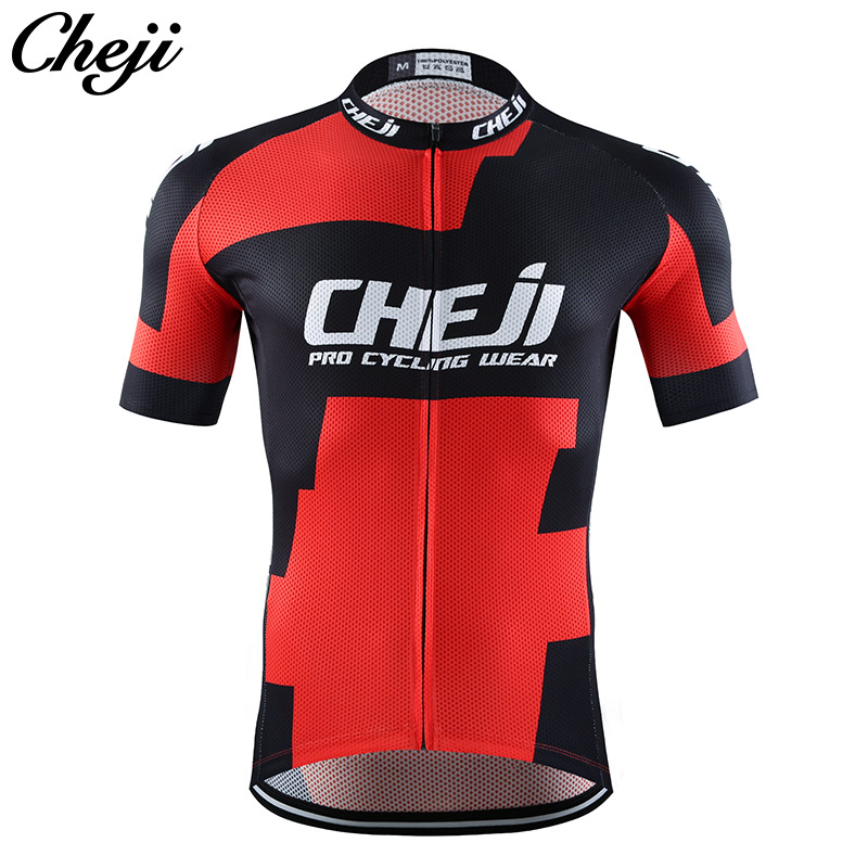 CHEJI Cycling Clothes Men 2017 Quick Dry Pro Team Road/mtb Bike Jersey Set Black Red Color Bicycle Wear ROPA DE CICLISMO