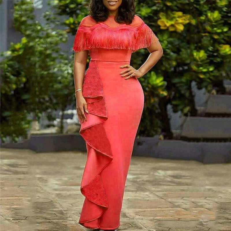 Летние Элегантные сексуальные вечерние винтажные черные женские длинные платья в африканском стиле с высокой талией, осень 2019, Ретро женское Макси шикарное платье