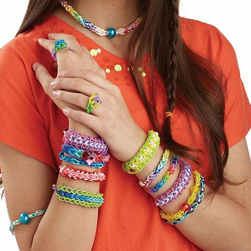 Diy Braid Hook Gum Bracelets Women Jewelry Fashion Loom Band Charms Candy Elastic Silicone Rubber Bands
