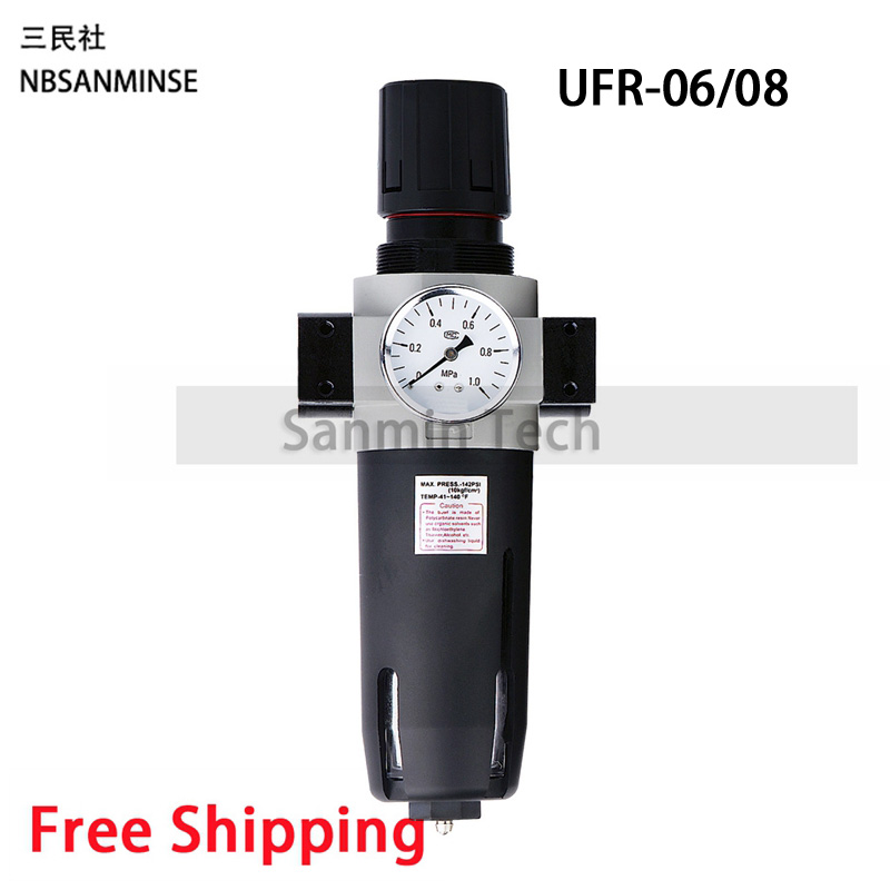 Pneumatic Air Compressor Parts Auto Drain Air Preparation Units UFR / FR 1/4 3/8 1/2 3/4 1 Air Filter Regulator Piston Sanmin mayitr 16mm 3 8pt plastic air filter filter silencer muffler for air compressor pneumatic parts black