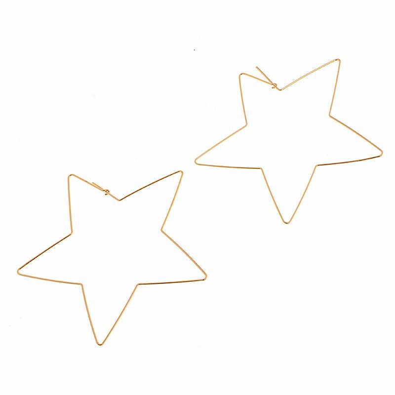 Простые серьги с подвеской в виде пентаграммы, золотые геометрические висячие серьги с большой звездой для женщин, вечерние серьги на новый год, подарок в стиле панк