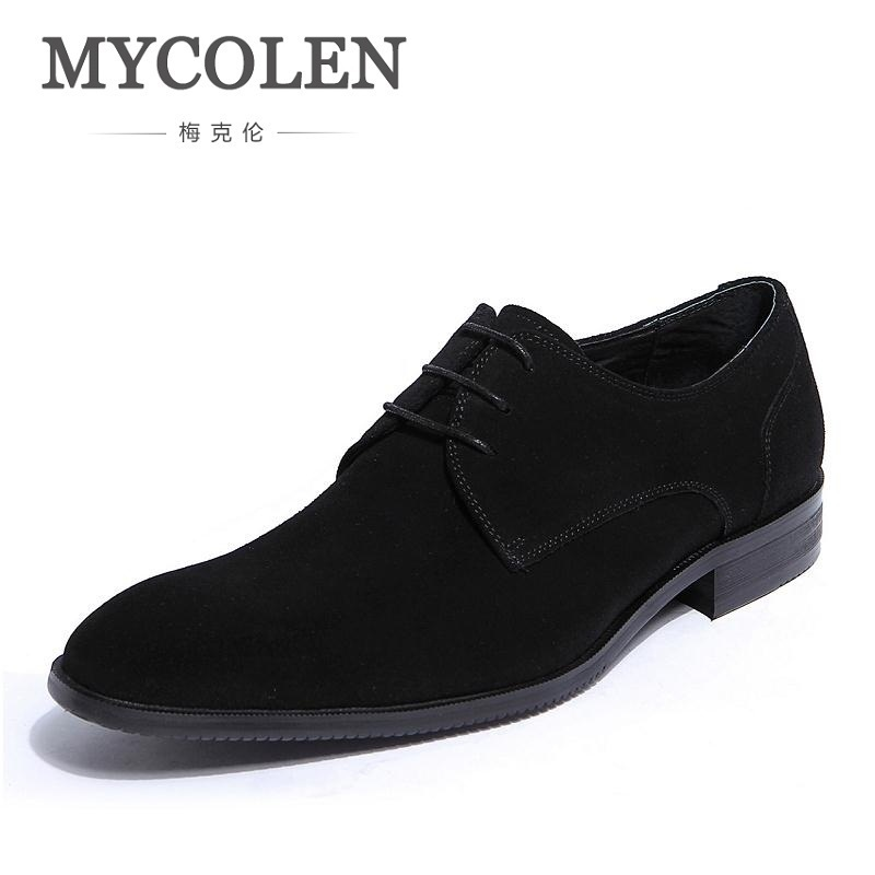 MYCOLEN Mens Pointed Toe Lace Up Genuine Leather Blue Dress Shoes Men Retro Fashion Business Flats Office Work Wedding Shoes fashion style lace up flat shoes chaussure homme black men flats pointed toe genuine leather oxfords mens wedding dress shoes