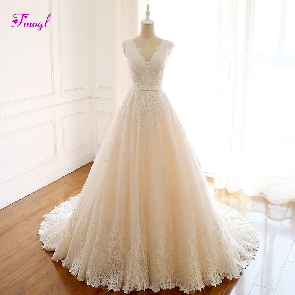Fmogl Romantic V neck Pleated Lace A Line Wedding Dress 2019 Gorgeous Appliques Princess Bridal Gown