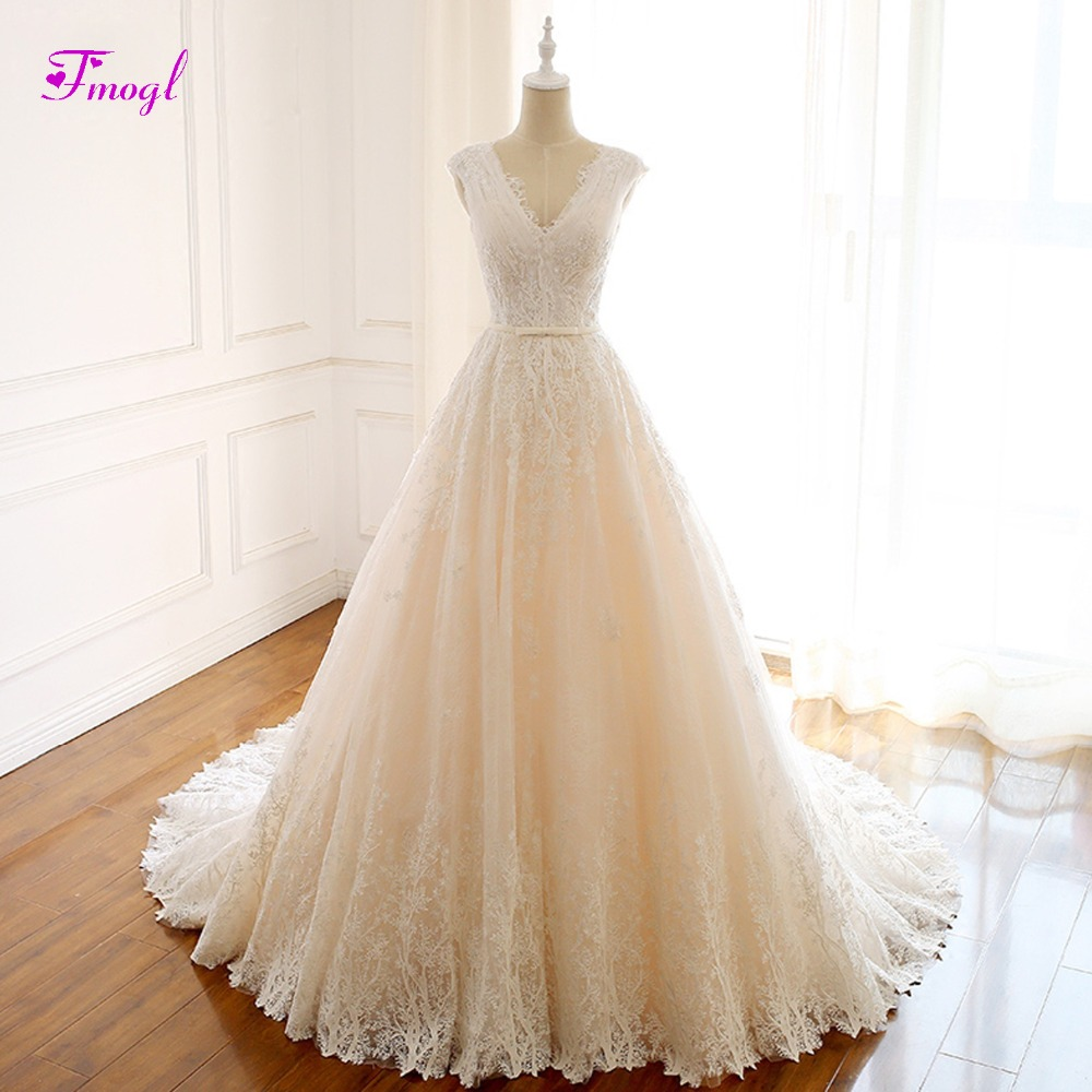 Fmogl Romantic V neck Pleated Lace A Line Wedding Dress 2019 Gorgeous Appliques Princess Bridal Gown Vestido de Noiva Plus Size-in Wedding Dresses from Weddings & Events