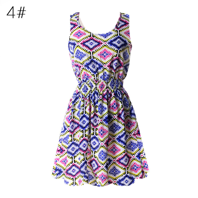Sexy Women Chiffon Dress Sleeveless Sundress Beach Floral Tank Mini Dresses Vestido