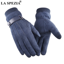 LA SPEZIA Men Gloves Winter Touch Screen Suede With Belt Navy Blue Casual Thermal Male Thick Leather Man Windproof
