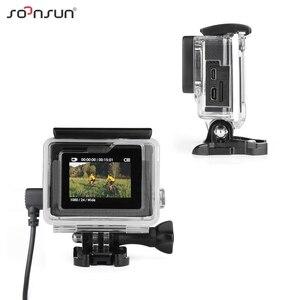 Image 3 - SOONSUN obudowa szkieletu obudowa boczna otwarta obudowa ochronna + zewnętrzny mikrofon kabel do GoPro Hero 3 3 + 4 do Go akcesoria pro