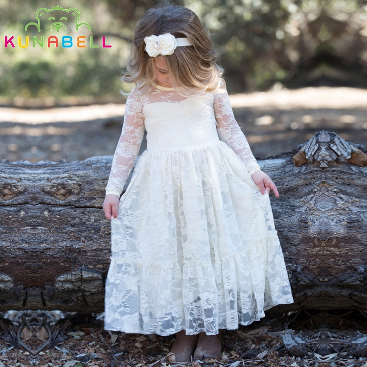 купить Brand New Flower Girl Dresses Ivory Real Party Pageant Communion Birthday Party Girls Kids Bridesmaid Toddler Wedding Dress D10 дешево