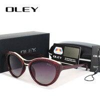 OLEY New Fashion Cat Eye Sunglasses Women Vintage Gradient Polarized Sun Glasses Driving UV400 Aluminium Eyewear